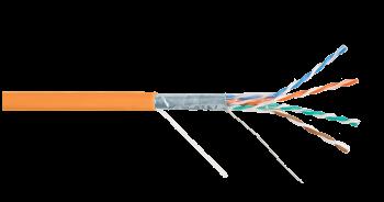 Кабель NIKOLAN NKL 4200C-OR F/UTP 4 пары, Кат.5e (Класс D), одножильный, BC (медь), 24AWG,внутренний, LSZH нг(А)-HFLTx, 305м