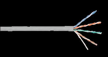 Кабель NIKOLAN NKL 4100C-GY U/UTP 4 пары, Кат.5e (Класс D), одножильный, BC (медь), 24AWG, внутренний, LSZH нг(А)-HFLTx, 305м