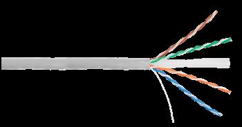 Кабель NIKOLAN U/UTP 4 пары, Кат.6 (Класс E),одножильный, BC (медь), 24AWG,внутренний,PVCнг(А), серый, 305м