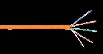 Кабель NIKOLAN NKL 4100C-OR U/UTP 4 пары, Кат.5e, одножильный, BC (медь), 24AWG, внутренний, LSZH нг(А)-HFLTx, 305м