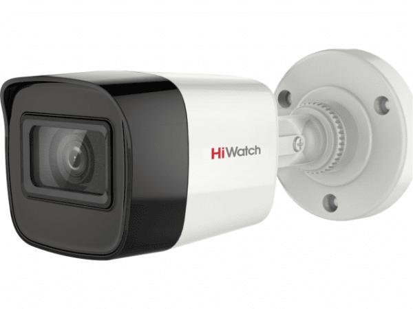 Цилиндрическая HD-TVI видеокамера HiWatch DS-T200A (3.6mm) с EXIR-подсветкой до 30м и микрофоном