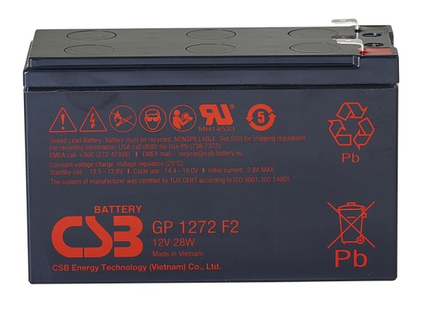 Аккумулятор CSB 12V 7.2Ah GP1272(28W)