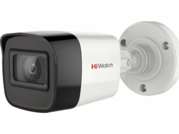 Цилиндрическая HD-TVI видеокамера HiWatch DS-T500A (2.8 mm) 5Мп с EXIR-подсветкой до 30м