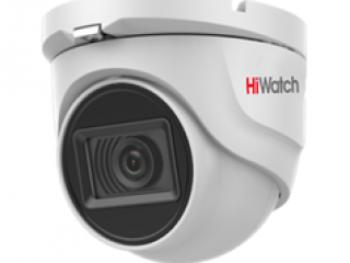 Купольная HD-TVI видеокамера HiWatch DS-T503A (3.6 mm) 5Мп с EXIR-подсветкой до 30м и встроенным микрофоном