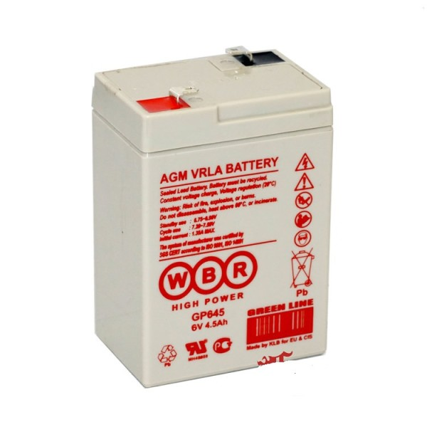 Аккумулятор WBR 6V 4,5Ah GP645