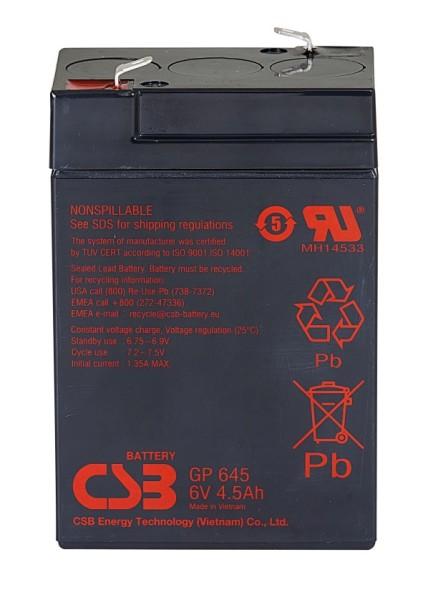 Аккумулятор CSB 6V 4.5Ah GP645