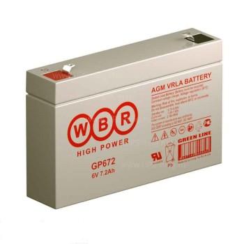 Аккумулятор WBR 6V 7,2Ah GP672