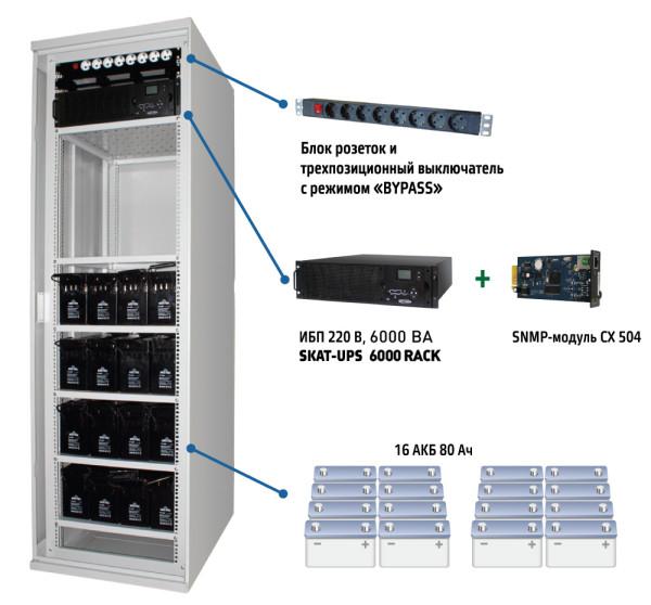 Комплекс бесперебойного питания Бастион SKAT-UPS 6000 SNMP