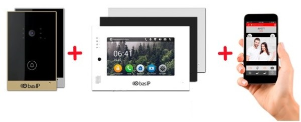 Комплект IP-видеодомофона BASE-IP AV-02 GOLD+AP-07L WHITE